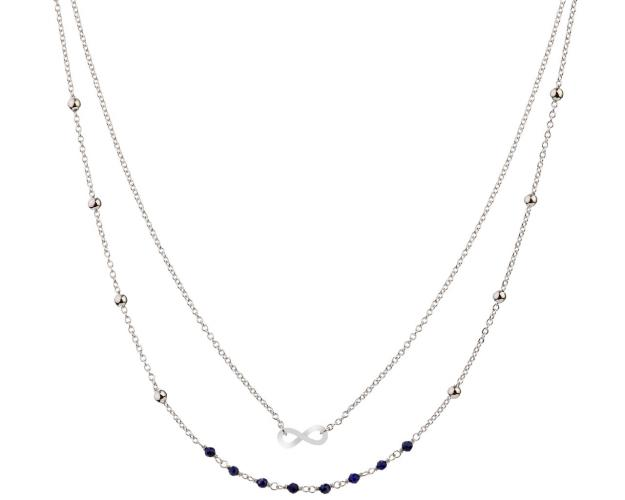 Sterling Silver Necklace with Lapis Lazuli - Infinity