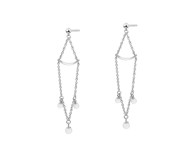 Sterling Silver Earrings with Milky White Cubic Zirconia