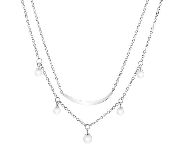 Sterling Silver Necklace with Milky White Cubic Zirconia