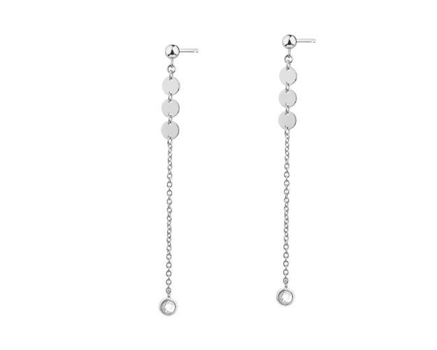Sterling Silver Earrings with Cubic Zirconia & Round Disc