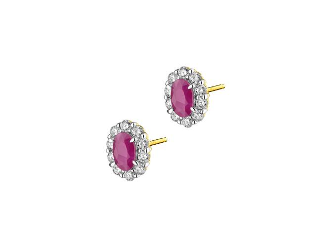 Yellow Gold Diamond & Ruby Earrings