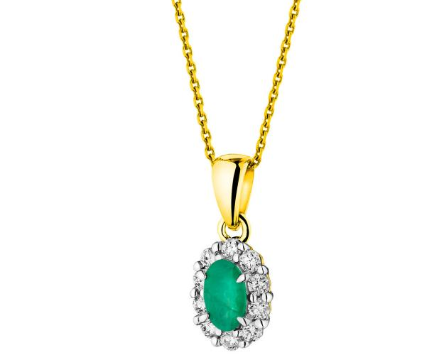 Yellow Gold Diamond & Emerald Pendant