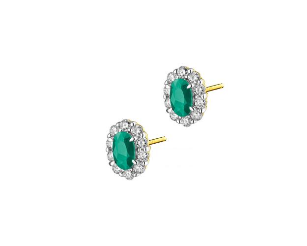 Yellow Gold Diamond & Emerald Earrings