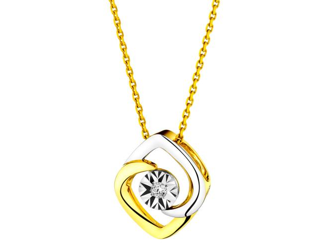 9ct Yellow Gold, White Gold Pendant with Diamond