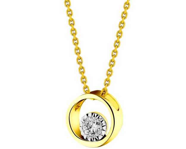 14ct Yellow Gold, White Gold Pendant with Diamond