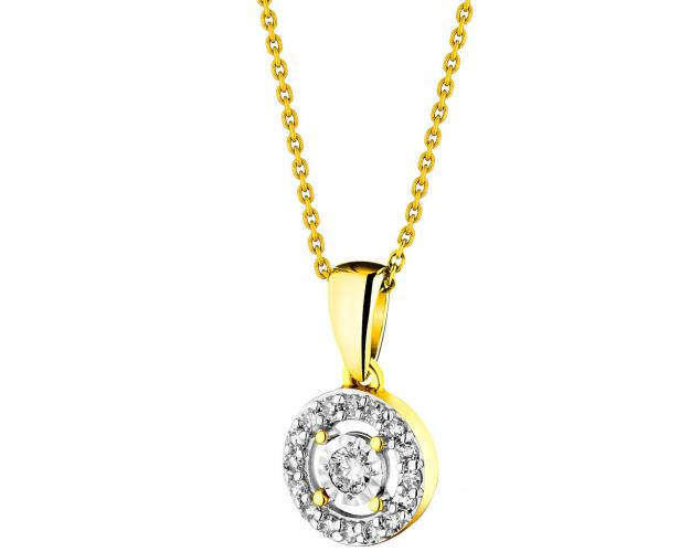 14ct Yellow Gold, White Gold Pendant with Diamonds