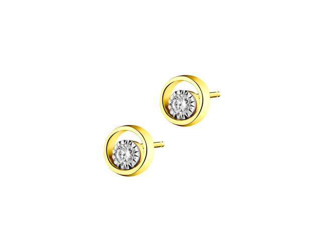 Yellow & White Gold Diamond Earrings - Disc