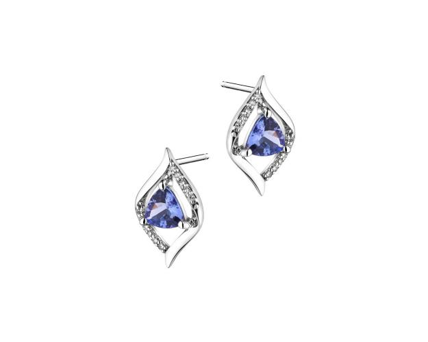 White Gold Earrings with Diamond & Tanzanite