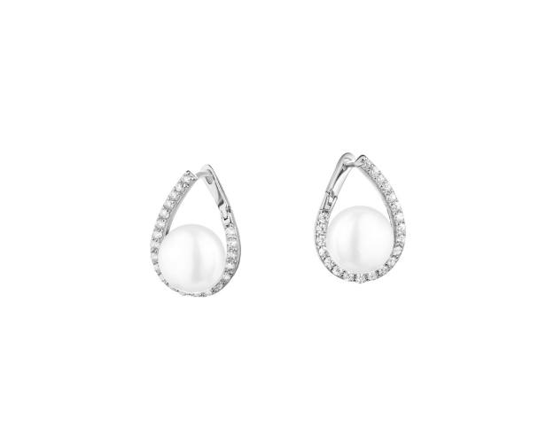 Sterling Silver Earrings with Pearl & Cubic Zirconia