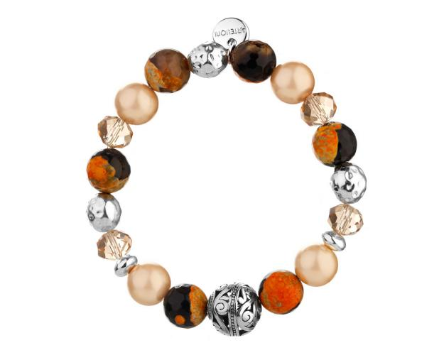 Rhodium-Plated Brass Bracelet with Gemstone