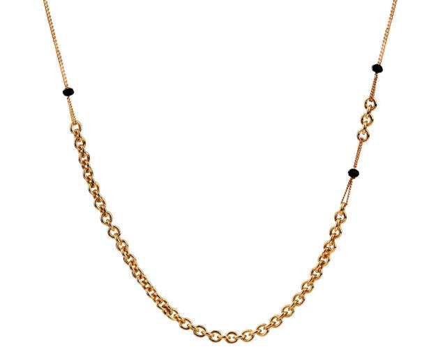 Gold-Plated Silver Necklace with Crystal