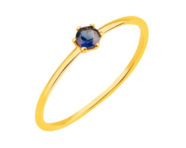 8ct Yellow Gold Ring with Synthetic Sapphire