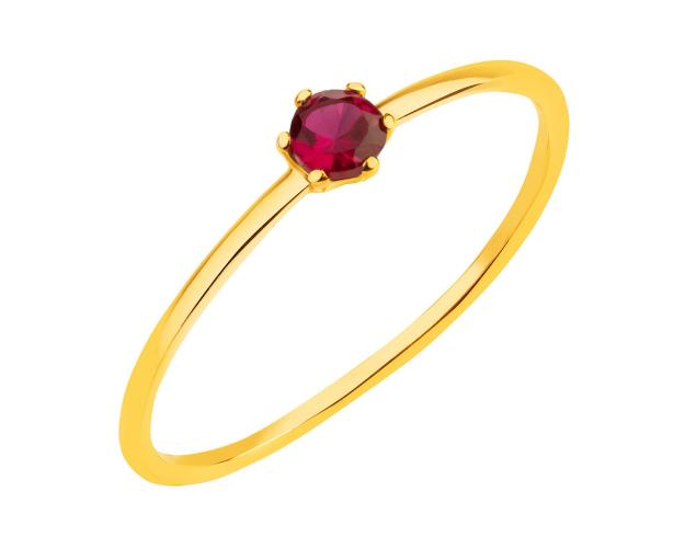 14ct Yellow Gold Ring with Synthetic Ruby
