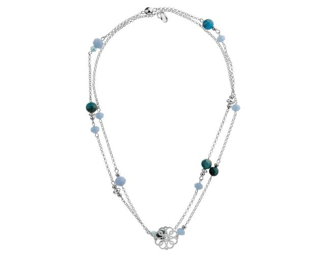 Rhodium-Plated Brass Necklace with Aquamarine