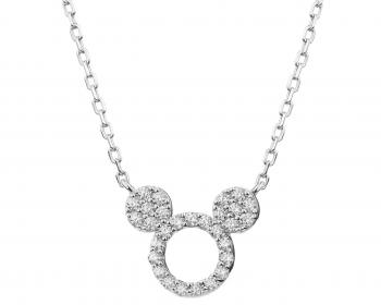 Sterling Silver Necklace with Cubic Zirconia - Mickey Mouse