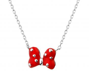 Sterling Silver & Enamel Necklace - Mini Mouse, Bow