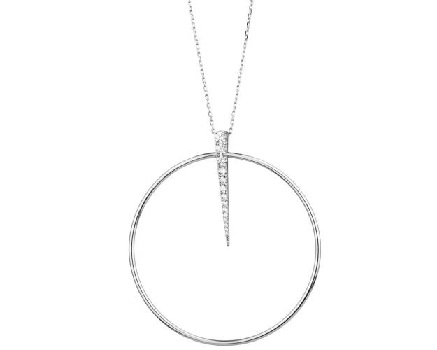 Sterling Silver Necklace with Cubic Zirconia - Circle