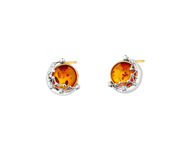 Gold Plated Silver Earrings with Amber & Cubic Zirconia