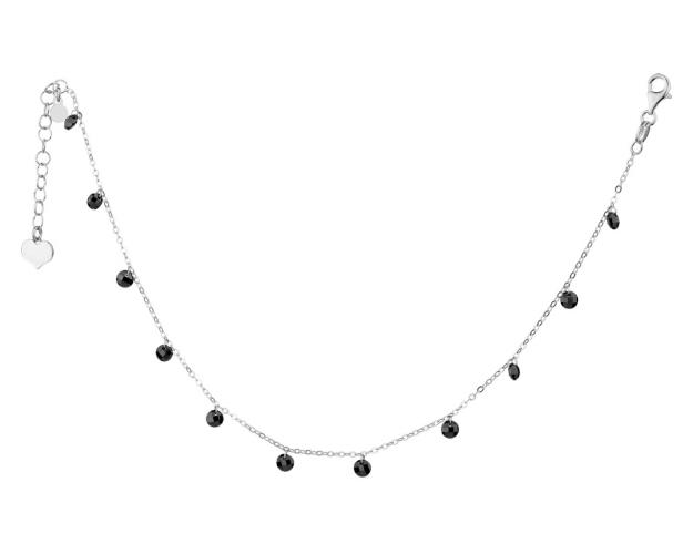 Sterling Silver Anklet with Glass