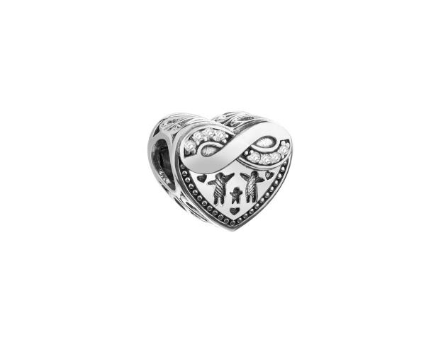Sterling Silver Beads Pendant with Cubic Zirconia - Family, Heart, Infinity