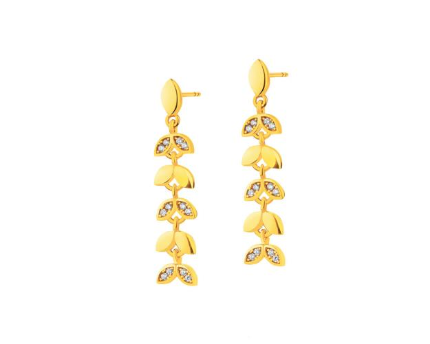 Yellow Gold Earrings with Cubic Zirconia