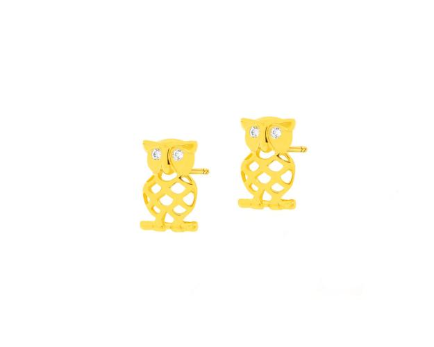 Yellow Gold Earrings with Cubic Zirconia - Owl