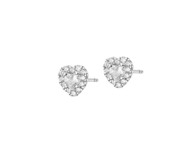 White Gold Earrings with Cubic Zirconia - Heart