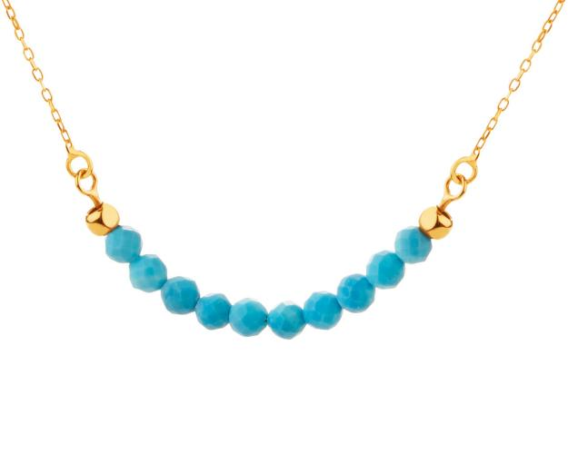 Yellow Gold Necklace with Synthetic Turquoise