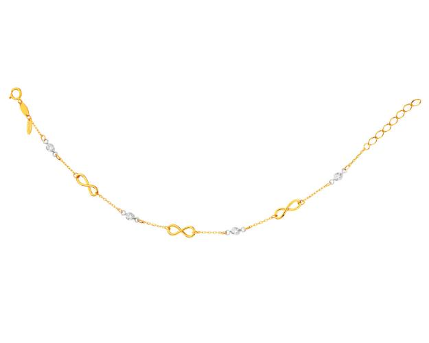 Yellow Gold Bracelet with Cubic Zirconia - Infinity