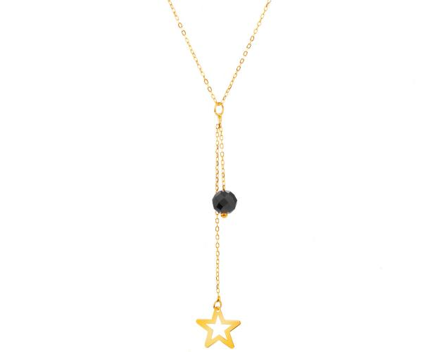 Yellow Gold Necklace with Cubic Zirconia - Star