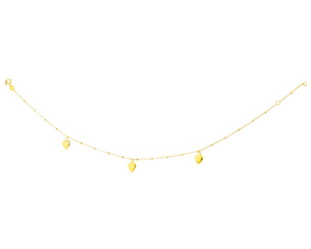 Yellow Gold Anklet - Hearts
