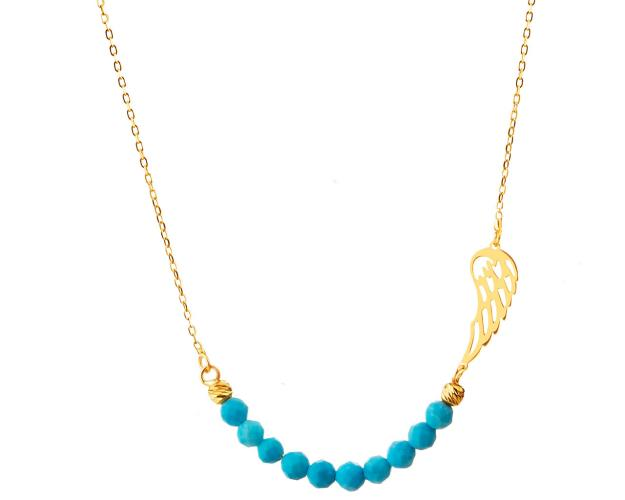 Yellow Gold Necklace with Synthetic Turquoise - Wing