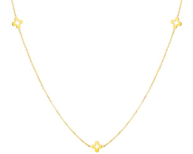 Yellow Gold Necklace - Flowers
