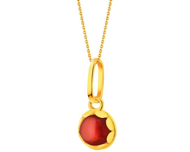Yellow Gold Pendant with Synthetic Garnet
