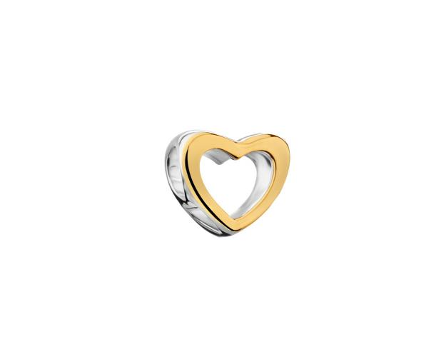 Gold Plated Silver Beads Pendant - Heart