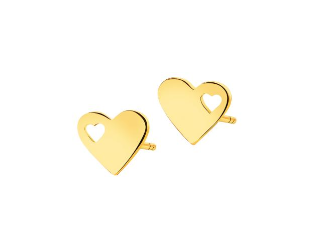 Yellow Gold Earrings - Hearts