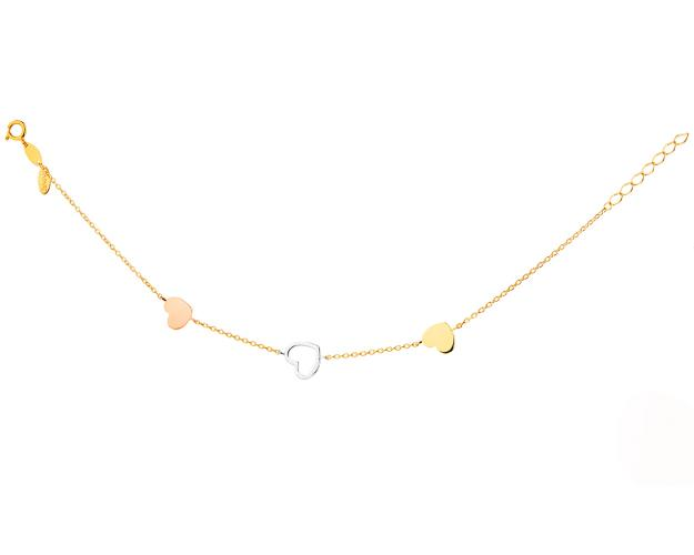 Yellow Gold Bracelet - Hearts