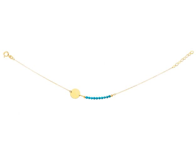 Yellow Gold Bracelet with Synthetic Turquoise