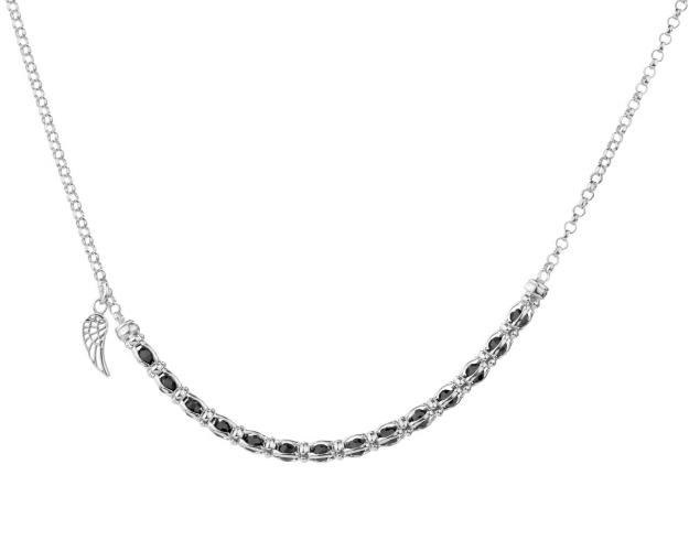 Sterling Silver Necklace with Cubic Zirconia - Wing