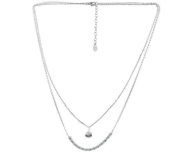 Sterling Silver Necklace with Cubic Zirconia - Seashell