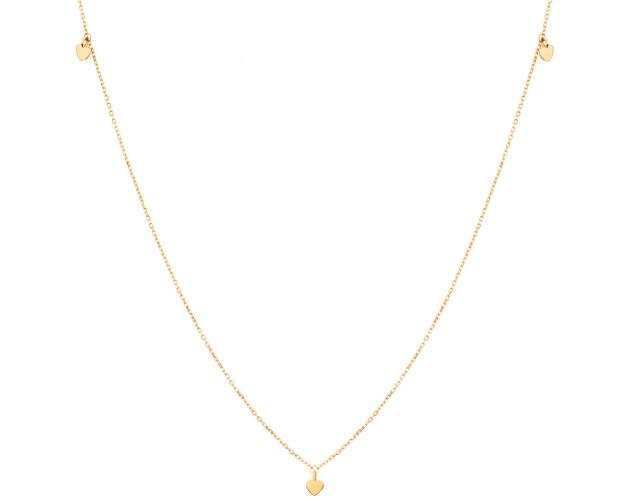Yellow Gold Necklace - Hearts