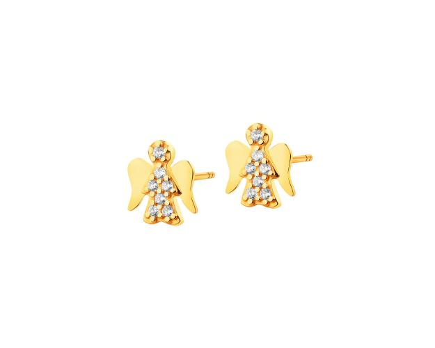 Yellow Gold Earrings with Cubic Zirconia - Angel
