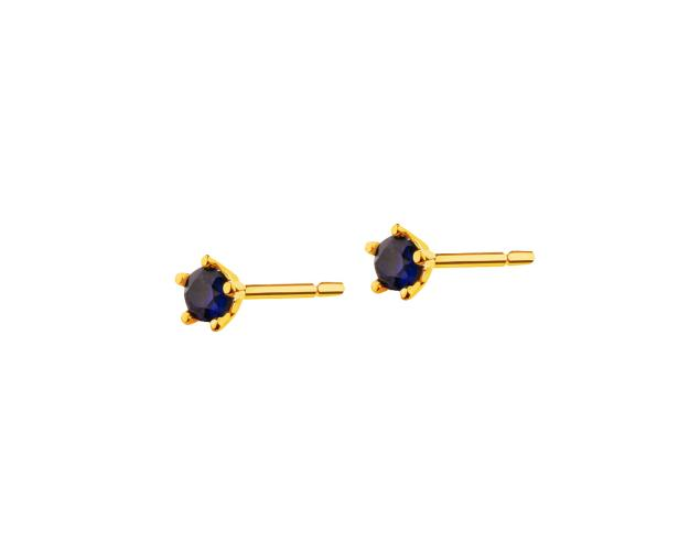 Yellow Gold Earrings with Synthetic Sapphire