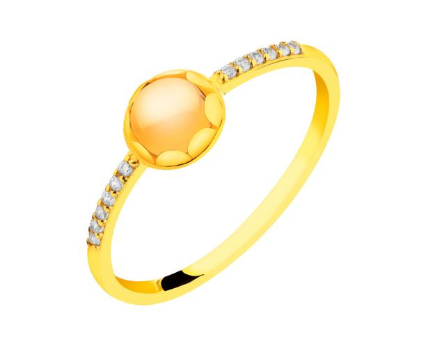 14ct Yellow Gold Ring with Synthetic Citrine