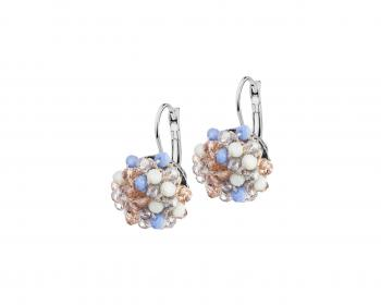 Rhodium-Plated Brass, Polyester Earrings with Glass