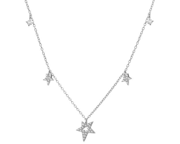 Sterling Silver Necklace with Cubic Zirconia - Stars