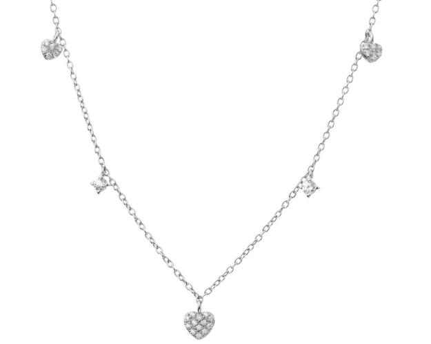 Sterling Silver Necklace with Cubic Zirconia - Hearts
