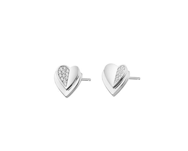 Sterling Silver Earrings with Cubic Zirconia - Hearts