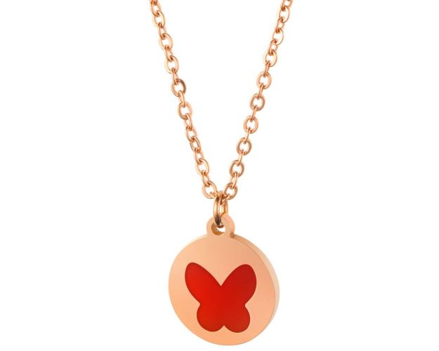 Stainless Steel Necklace with Enamel Butterfly