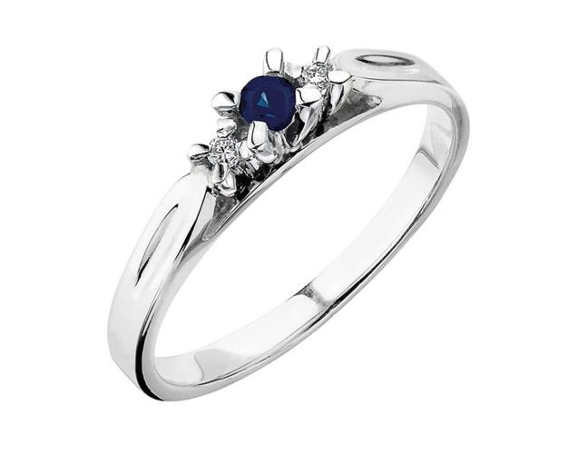 White gold ring with brilliants and sapphire